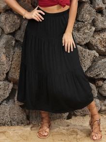 Black Pleated skirt High Waisted Fashion Maxi Skirt