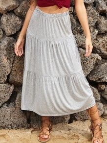 Grey Pleated skirt High Waisted Fashion Maxi Skirt