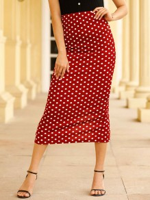 Red Polka Dot Slit High Waisted Fashion Maxi Skirt