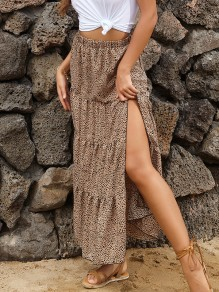 Khaki Leopard Side Slit High Waisted Fashion Maxi Skirt