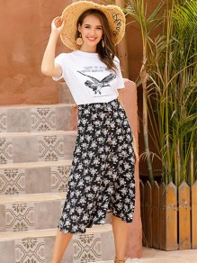 Black Floral Buttons High Waisted Sweet Midi Skirt