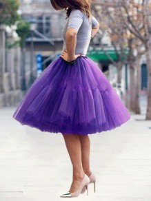Purple Layers Of Grenadine High Waisted Fluffy Puffy Tulle Cute Midi Skirt