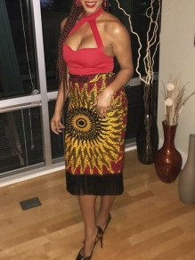 Red Patchwork Tassel Aztec Africa Print High Waisted Africa Style Bodycon Midi Skirt