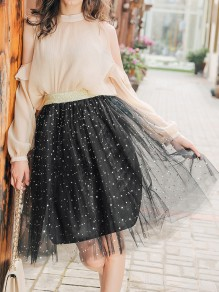 Black Patchwork Star And Moon Sequin Print Grenadine High Waisted Fluffy Puffy Tulle Cute Mini Skirt