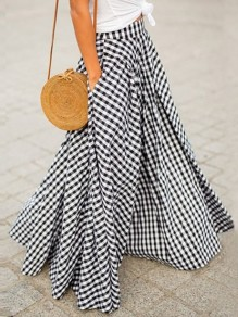 Black White Plaid High Waisted Floor Length Elegant Long Skirt