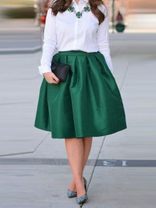 Green Pleated Draped Vintage High Waisted Elegant Christmas Party NYE Skate Tutu Skirt