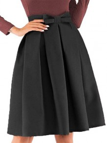 Black Patchwork Bow Big Swing High Waisted Sweet Skirt
