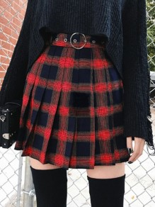 Red Black Plaid Pleated High Waisted Party Skate Skirt