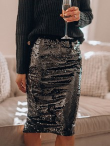 Black Patchwork Sequin High Waisted Glitter Sparkly Fashion Skirt
