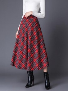 Red-Black Plaid Pattern Draped High Waisted Christmas Elegant Party Flare Long Skirt