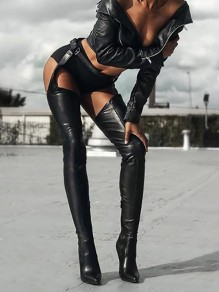 Black Point Toe Stiletto Patchwork Fashion Over-The-Knee Boots