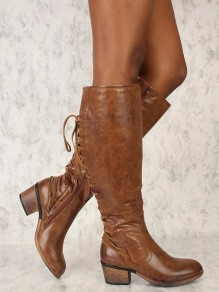 Brown Almond Low Chain Mid-Calf Boots