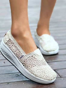 Beige Round Toe Flat Flower Cut Out Casual Shoes