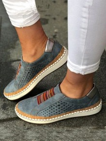 Grey Round Toe Fashion Casual Flat Shoes