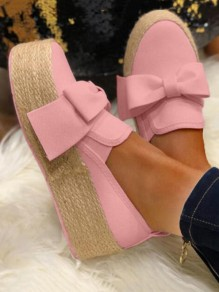 Pink Round Toe Bow Fashion Casual Flat Shoes