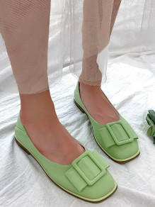Green Square Toe Bow Fashion Sweet Flat Shoes