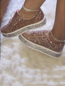 Beige Round Toe Flat Sequin Casual Shoes