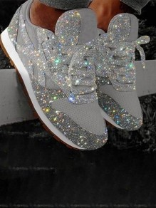 Silver Round Flat Rhinestone Fashion Shoes