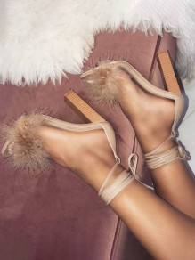 Apricot Piscine Mouth Faux Fur Patchwork Fashion Fluffy High-Heeled Sandals