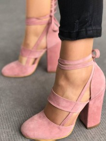 Pink Point Toe Cut Out Fashion High-Heeled Shoes