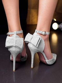 Silver Point Toe Bow Fashion High-Heeled Shoes