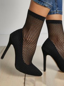 Black Point Toe Stiletto Cut Out Fashion High-Heeled Shoes