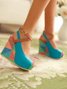 Blue Round Toe Wedges Fashion High-Heeled Shoes