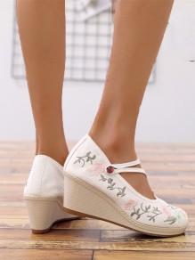White Round Toe Wedges Embroidery Fashion Casual Shoes