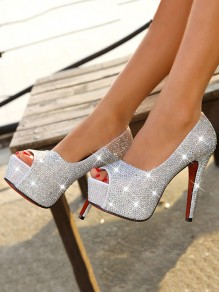 White Round Toe Stiletto Rhinestone Fashion High-Heeled Shoes