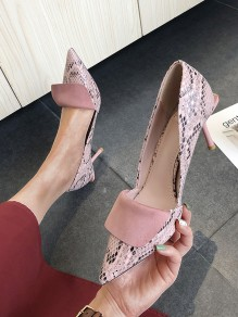 Pink Point Toe Stiletto Print Patchwork Fashion High-Heeled Shoes