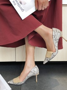 Yellow Point Toe Stiletto Print Patchwork Fashion High-Heeled Shoes