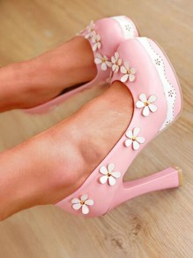 Pink Round Toe Chunky Flower Fashion High-Heeled Shoes