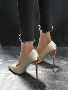 Golden Point Toe Stiletto Sequin Sheet-metal Fashion High-Heeled Shoes