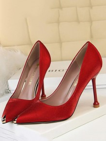Red Point Toe Stiletto Fashion Casual High-Heeled Shoes