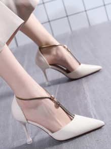 White Point Stiletto Zipper Fashion Casual High-Heeled Shoes