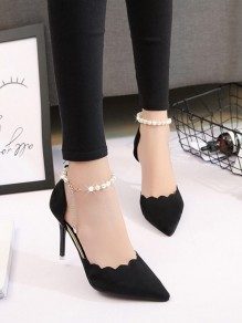 Black Point Toe Stiletto Pearl Chain Fashion Casual High-Heeled Shoes