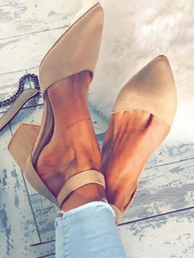 Apricot Point Toe Formal Fashion Mid-Heeled Sandals