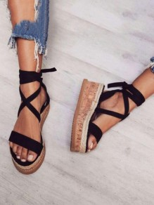 Black Round Toe Wedges Heel Lace-up Cross Strap Roman Fashion Ankle Summer Sandals