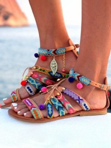 Multicolor Piscine Mouth Flat Cut Out Buckle Fashion Sandals