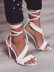White Piscine Mouth Ruffle Fashion High-Heeled Sandals