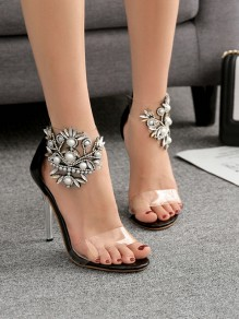 Black Round Toe Stiletto Pearl Print Fashion High-Heeled Sandals
