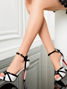 White Point Toe Piscine Mouth Stietto Buckle Fashion High-Heeled Sandals