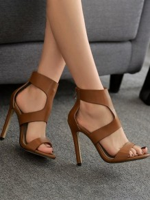 Brown Round Toe Stiletto Fashion High-Heeled Sandals