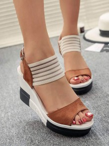 Brown Round Toe Wedges Fashion High-Heeled Sandals