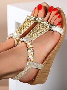 Golden Round Toe Wedges Rhinestone Fashion Casual Mid-Heeled Sandals