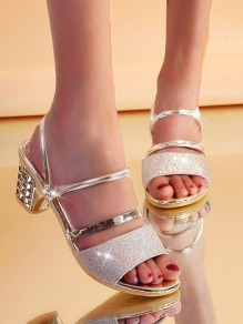Silver Round Toe Chunky Sequin Fashion Casual Mid-Heeled Sandals