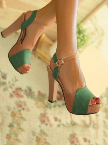 Green Round Toe Chunky Fashion Casual High-Heeled Sandals