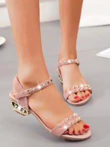 Pink Round Toe Rivet Fashion Casual Flat Sandals