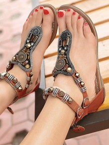 Brown Round Toe Beads Sequin Fashion Casual Flat Sandals