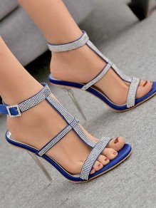 Blue Round Toe Stiletto Rhinestone Fashion Casual High-Heeled Sandals